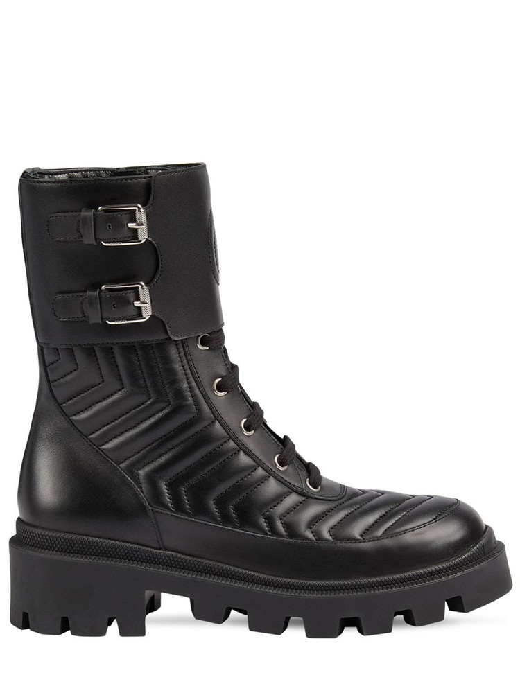 GUCCI 35mm Fraces Quilted Leather Combat Boots in black