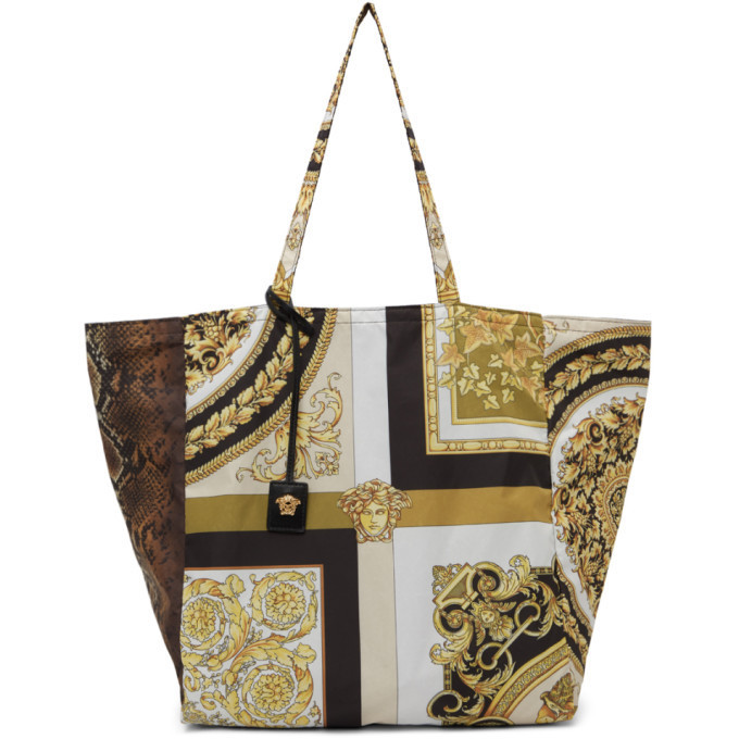 Versace Yellow Mixed Print Tote in gold