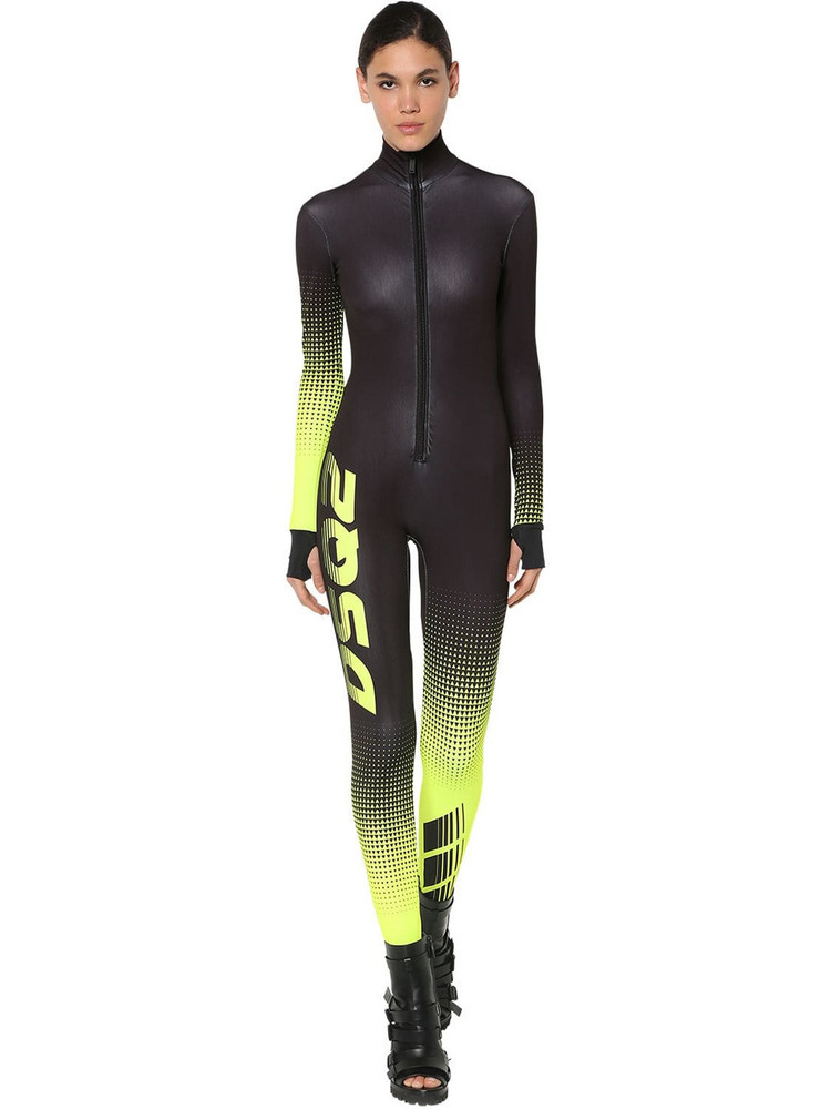 DSQUARED2 Printed Stretch Techno Jersey Jumpsuit in black / yellow
