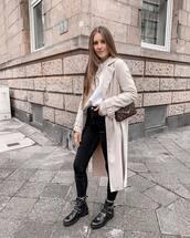 jeans,black velvet pants,black skinny jeans,black boots,ankle boots,flat boots,long coat,beige coat,brown bag,louis vuitton bag,white top