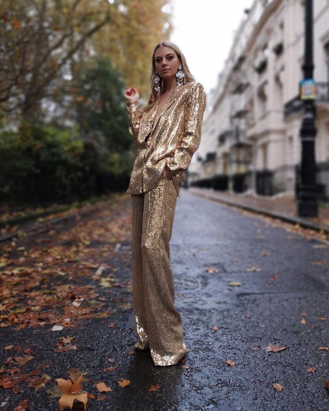 pants sequin pants gold wide-leg pants blazer earrings