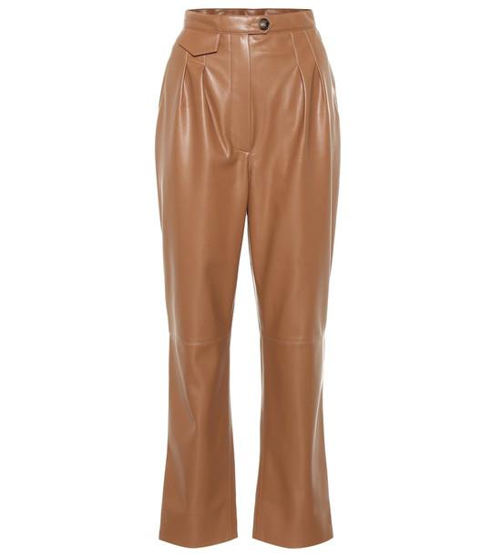 Nanushka Mitsu high-rise cigarette pants in brown
