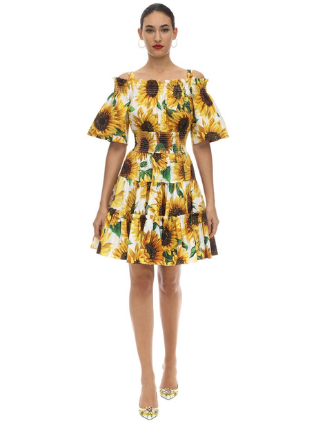 DOLCE & GABBANA Printed Cotton Poplin Mini Dress
