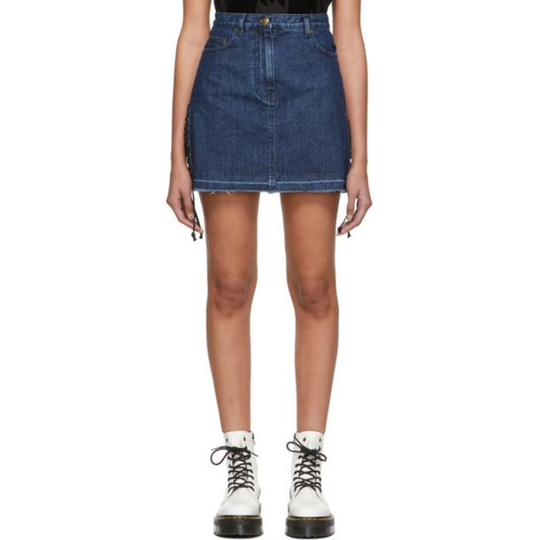 McQ Alexander McQueen Blue Laced Denim Miniskirt