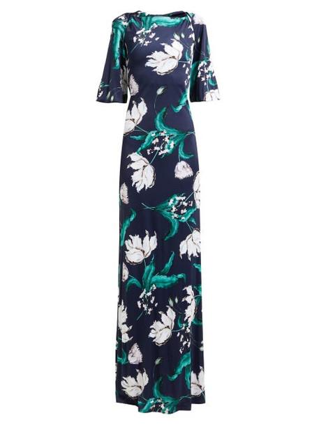Erdem - Ethelene Leighton Floral Print Jersey Dress - Womens - Navy Print