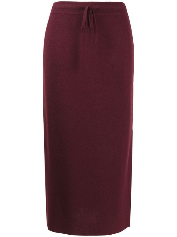 Pringle of Scotland high-waisted knitted skirt in red