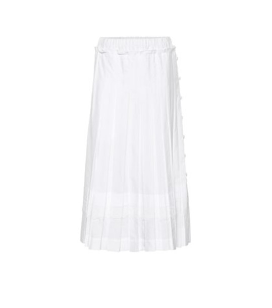 Simone Rocha Pleated cotton midi skirt in white