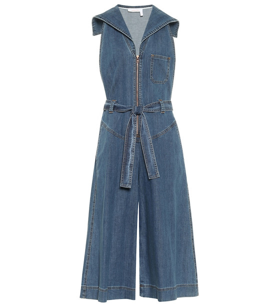 See By Chloé Denim stretch-cotton jumpsuit in blue