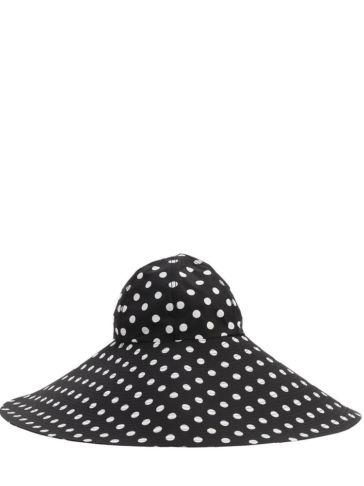 MARIANNA SENCHINA Wide Brim Printed Canvas Hat in black / white