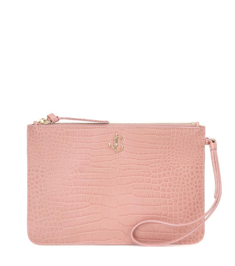 Jimmy Choo Fara croc-effect leather pouch in pink