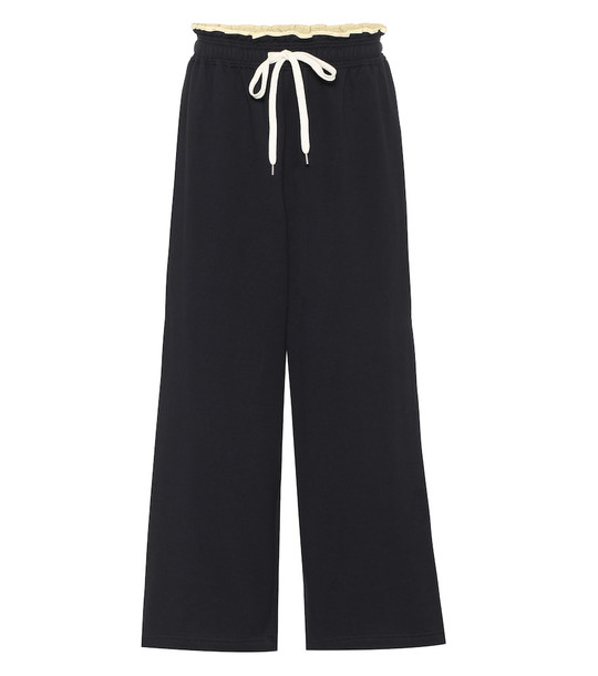 Marni High-rise cotton track pants in blue