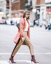 bag,shoulder bag,fendi,red boots,snake print,ankle boots,heel boots,high waisted pants,pink coat,white cardigan,white turtleneck top,beret