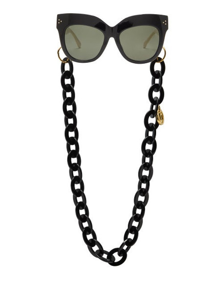 Linda Farrow - Dunaway Oversized Acetate Sunglasses And Chain - Womens - Black