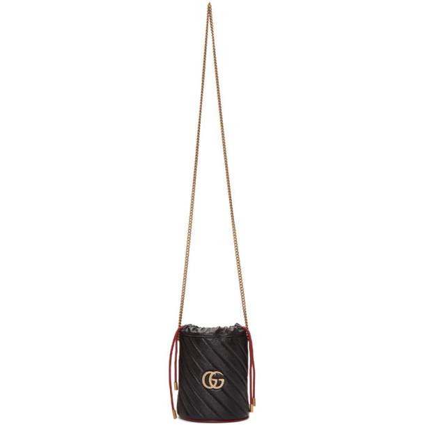 Gucci Black Torchon GG Marmont Bucket Bag