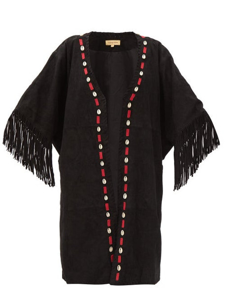 Muzungu Sisters - Duni Shell-appliqué Tasselled Suede Jacket - Womens - Black Multi