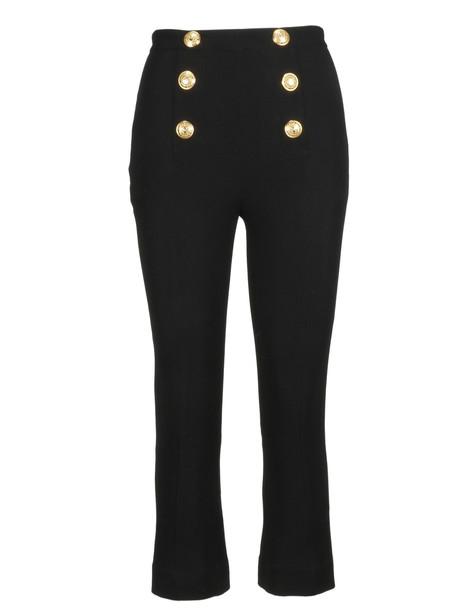 Balmain Button Detail Cropped Trousers in noir