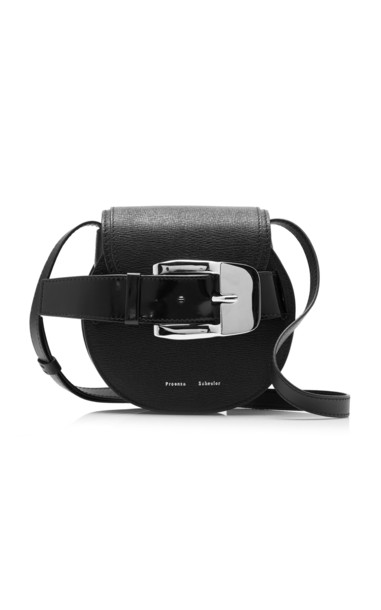 Proenza Schouler Buckle Mini Leather Crossbody Bag in black
