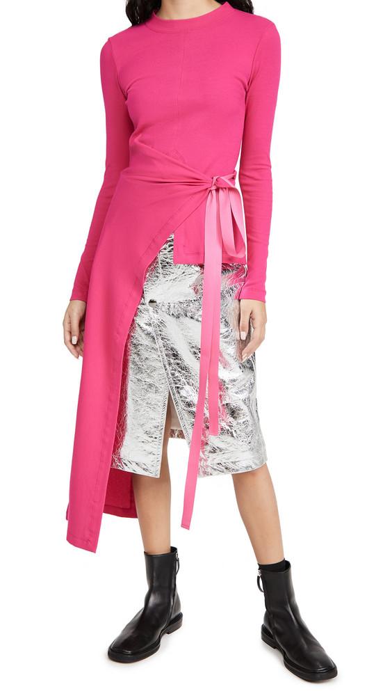 Rosetta Getty Long Sleeve Split Apron T-Shirt in magenta
