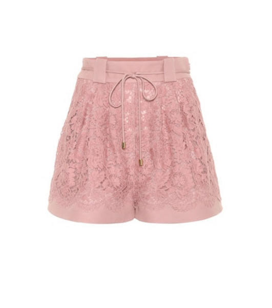 Valentino Wool and silk-blend lace shorts in pink