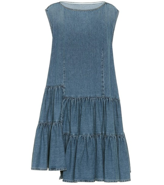 MM6 Maison Margiela Asymmetric denim minidress in blue