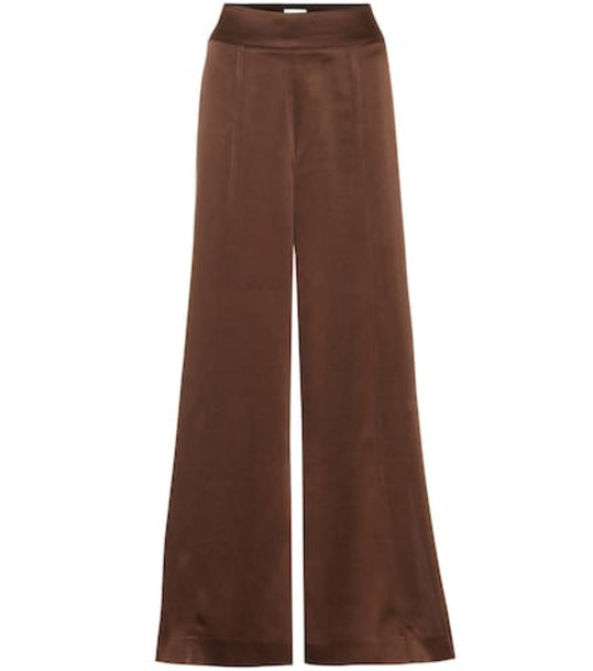Arjé Naia high-rise wide-leg satin pants in brown