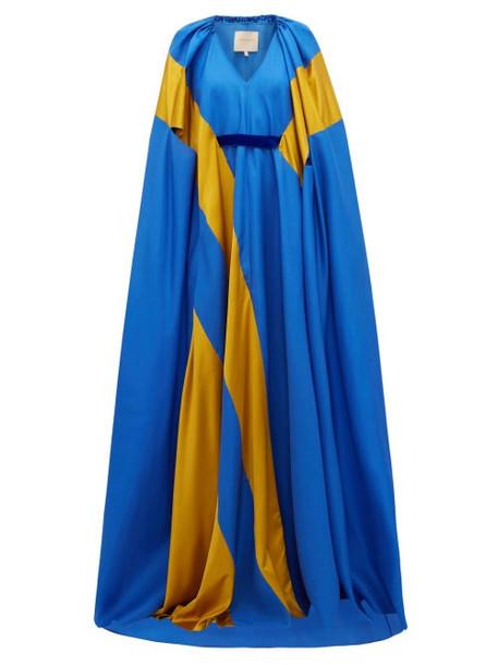Roksanda - Marva Satin Striped Silk Twill Gown - Womens - Blue Multi