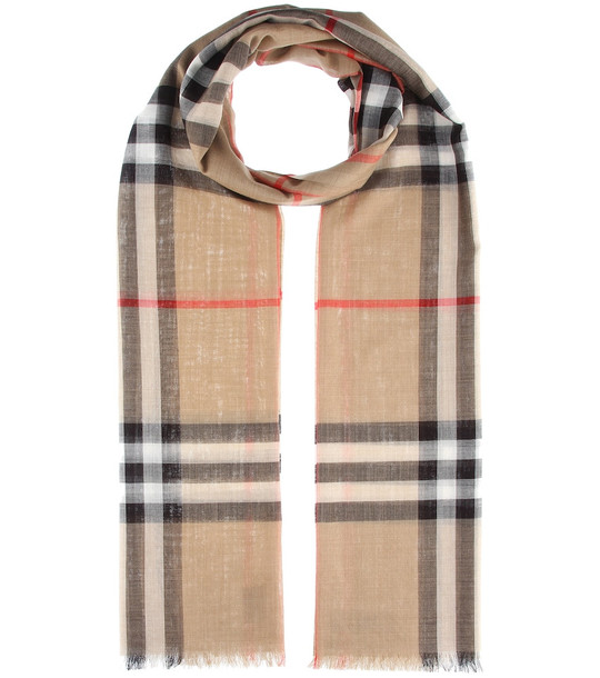 Burberry Check wool and silk scarf in beige