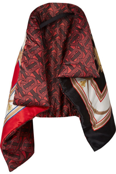 Burberry - Printed Mulberry Silk-satin Cape - Red