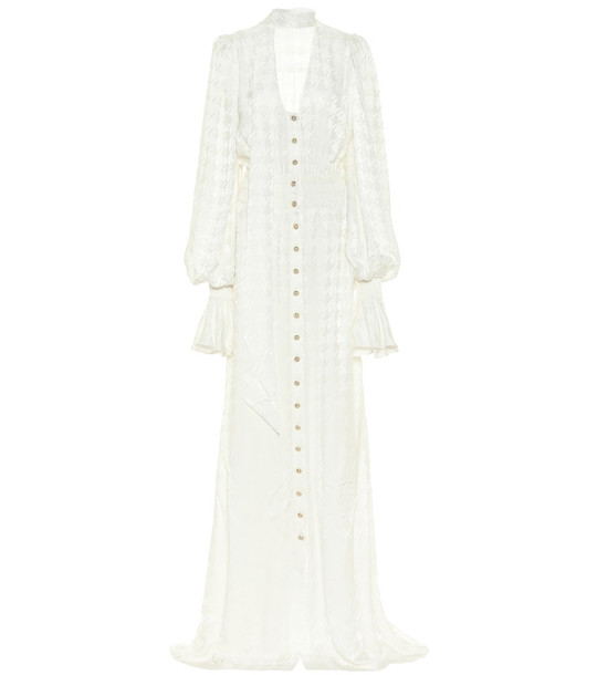 Balmain Exclusive to Mytheresa – Houndstooth maxi dress in white