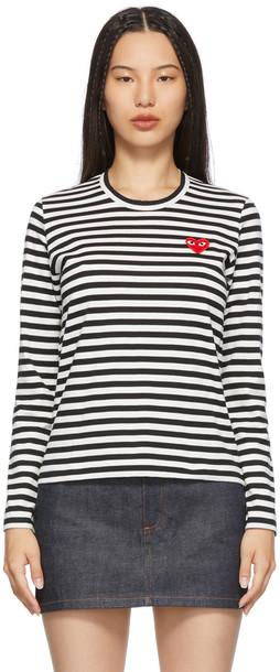 Comme des Garçons Play Black & White Striped Heart Patch Long Sleeve T-Shirt