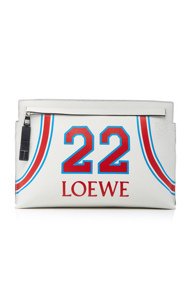 Loewe T Printed Leather Pouch in white
