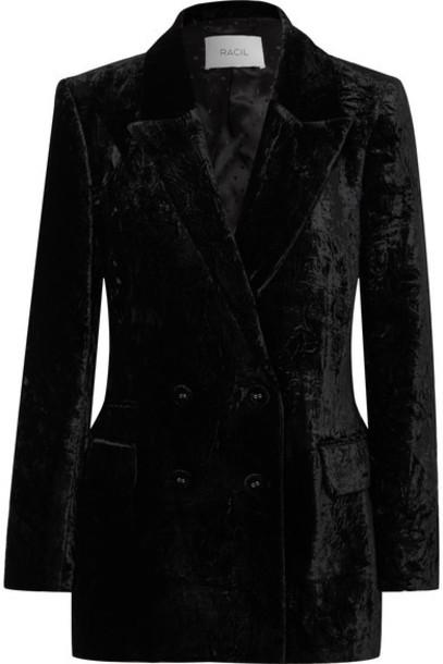 Racil - Double-breasted Crushed-velvet Blazer - Black