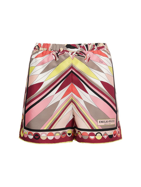 EMILIO PUCCI Printed Silk High Waist Satin Shorts in pink / multi