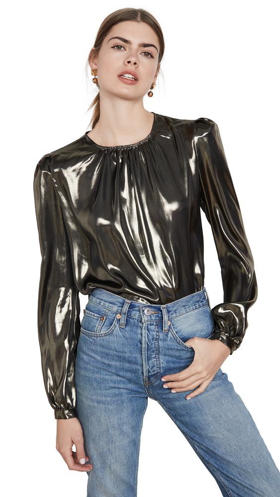 WAYF Josaline Long Sleeve Blouse in gold