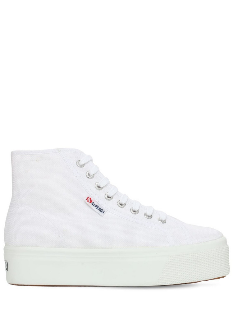 SUPERGA 40mm Canvas Platform High Sneakers in white