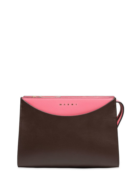 MARNI Law Saffiano Leather Tricor Bag in brown