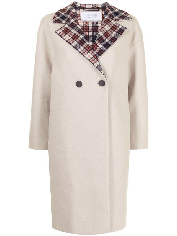 Harris Wharf London tartan detail double-breasted coat in neutrals
