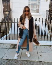 jeans,ripped jeans,skinny jeans,sneakers,long coat,bag,t-shirt,scarf