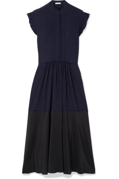 Chloé Chloé - Ruffle-trimmed Two-tone Silk-georgette Midi Dress - Navy