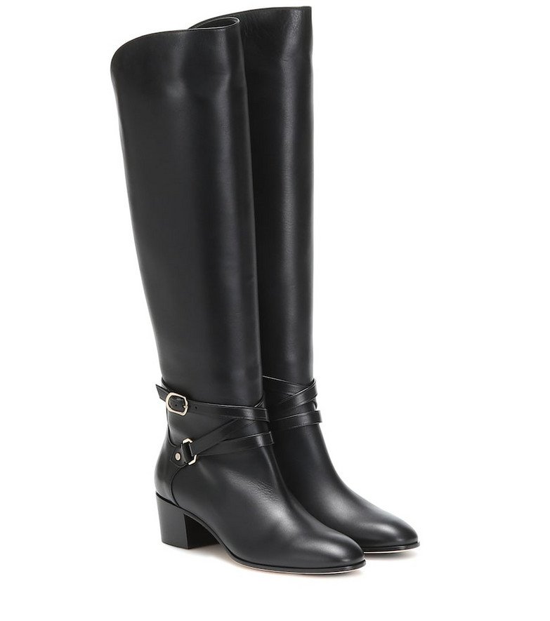 Jimmy Choo Huxlie 45 leather knee-high boots in black