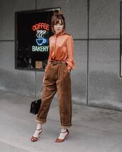 pants,high waisted pants,oversized,sandals,black bag,orange,shirt,silk