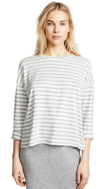 Vince Bengal Stripe Long Sleeve Tee in white