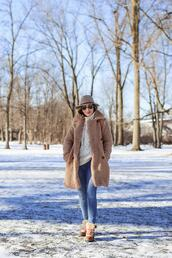 lilly style,blogger,coat,sweater,jeans,shoes,hat,bag,sunglasses