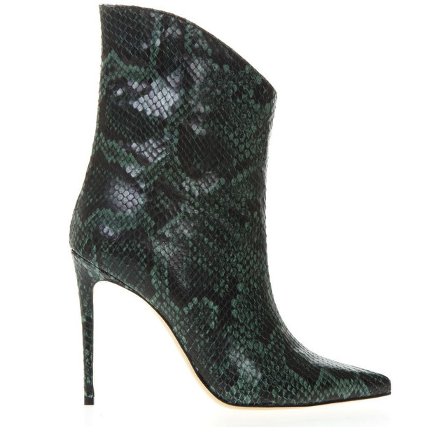 Aldo Castagna Ankle Boot In Pythoned Green And Black Leather