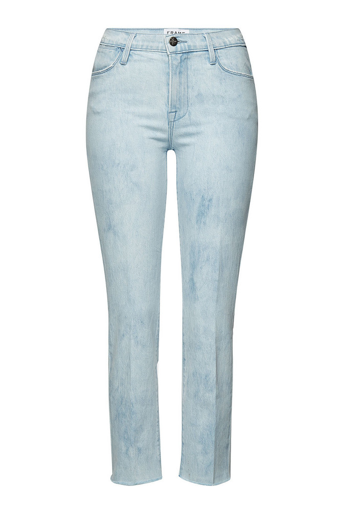 Frame Denim Le High Straight Raw Edge Cropped Jeans  in blue