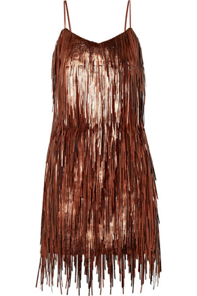 Michael Kors Collection - Fringed Metallic Leather Mini Dress - Copper