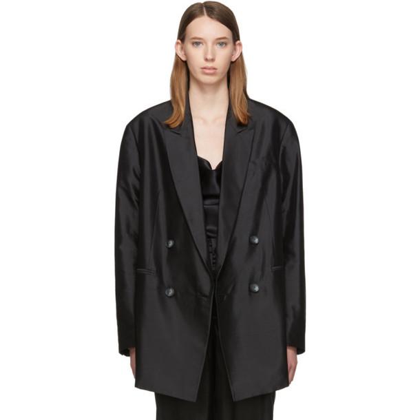 Marques Almeida Black Silk Oversized Blazer