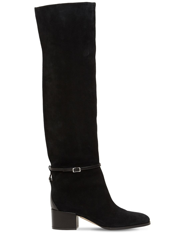 SERGIO ROSSI 45mm Sr Chris Suede Over-the-knee Boots in black