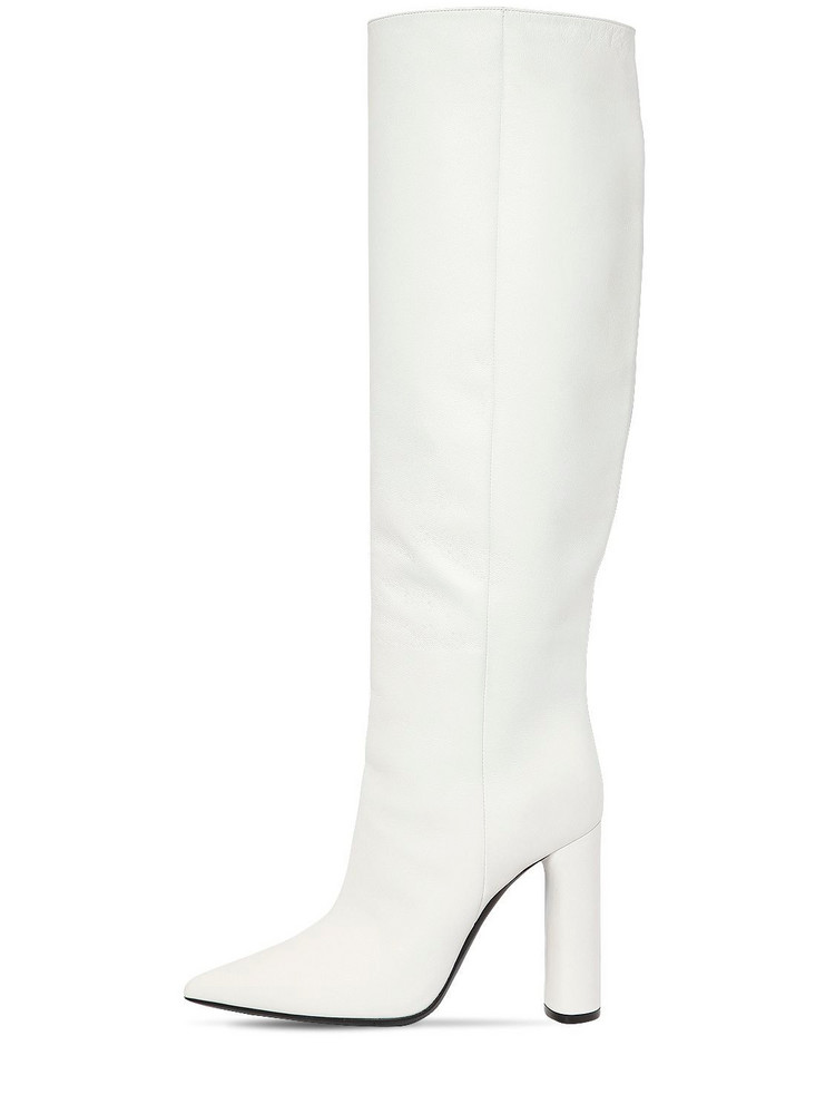 CASADEI 100mm Tall Leather Boots in white