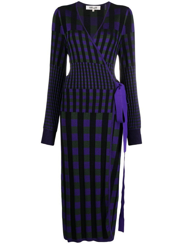DVF Diane von Furstenberg Tracy ribbed-knit midi wrap dress in purple